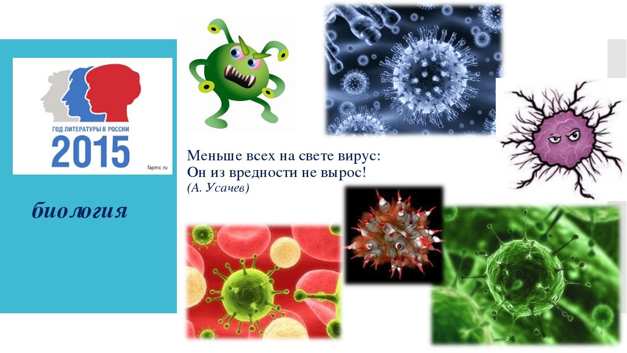 Меньше всех на свете вирус: Он из вредности не вырос! (А. Усачев) биология