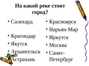 На какой реке стоит город? Салехард Краснодар Якутск Архангельск Астрахань Кр