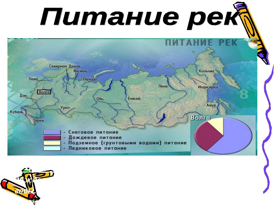 Вывод: В питании рек России принимают участие дождевые, талые снеговые, ледни...