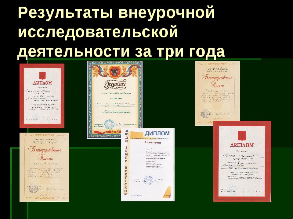 Результаты внеурочной исследовательской деятельности за три года