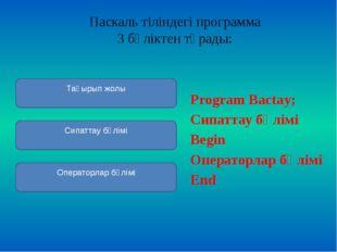 Паскаль тіліндегіпрограмма 3 бөліктентұрады:  Program Bactay; Сипаттау бө