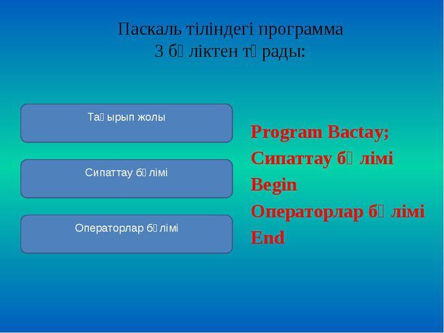 Паскаль тіліндегіпрограмма 3 бөліктентұрады:  Program Bactay; Сипаттау бө...