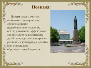 Новизна: Новым можно считать выявление совокупности организационно-педагогиче