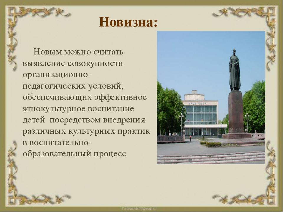 Новизна: Новым можно считать выявление совокупности организационно-педагогиче...