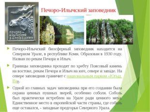 Печоро-Илычский биосферный заповедник находится на Северном Урале, в республи