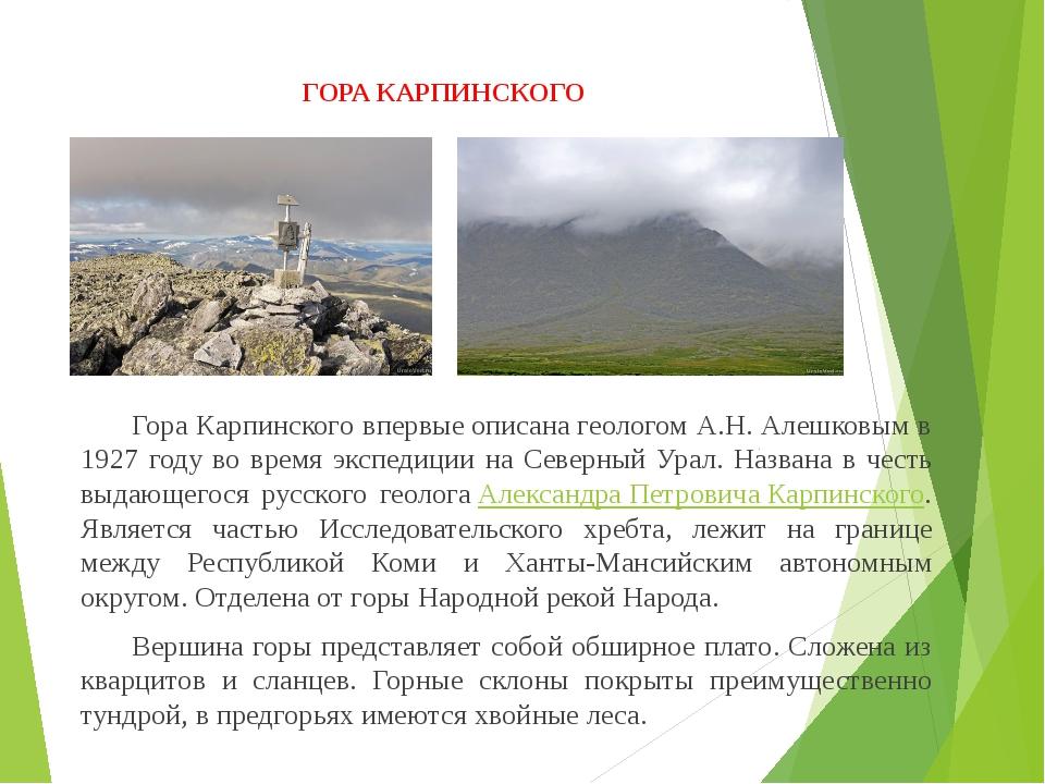 ГОРА КАРПИНСКОГО Гора Карпинского впервыеописанагеологом А.Н. Алешковым в...