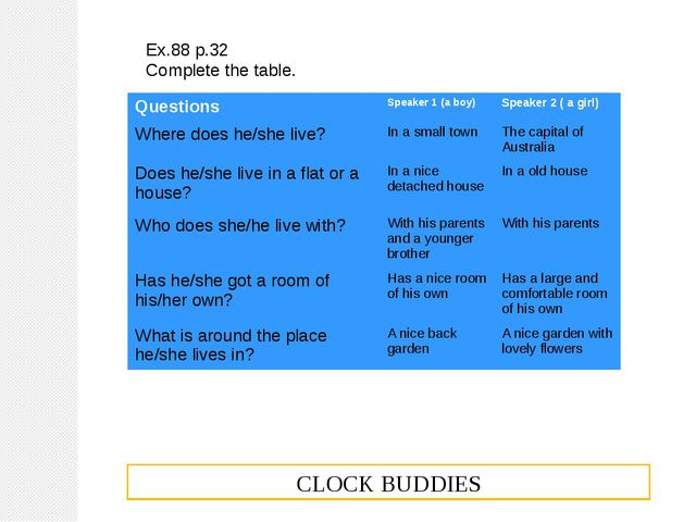 Ex.88 p.32 Complete the table. CLOCK BUDDIES Questions Speaker 1 (a boy) Spea...