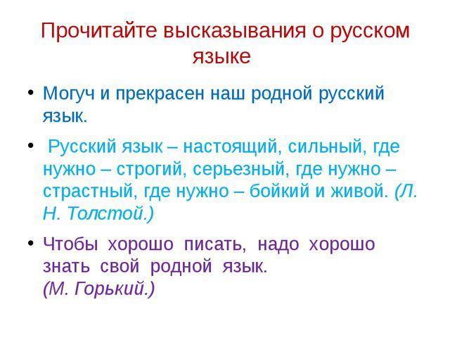 Прочитайте высказывания о русском языке Могуч и прекрасен наш родной русский...