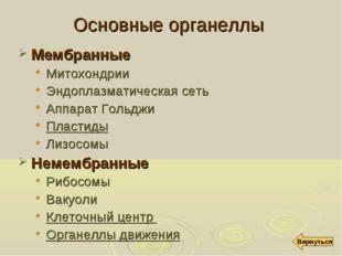 Основные органеллы Мембранные Митохондрии Эндоплазматическая сеть Аппарат Гол