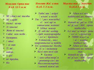 Мезолит-Орта тас б.з.б. 12-5 м.ж Мұз басу аяқталды Мұз еріді Балық аулау Аңшы