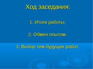 Ход заседания: 1. Итоги работы; 2. Обмен опытом. 3. Выбор тем будущих работ.