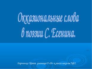 Харченко Катя, ученица 9 «Б» класса школы №22.