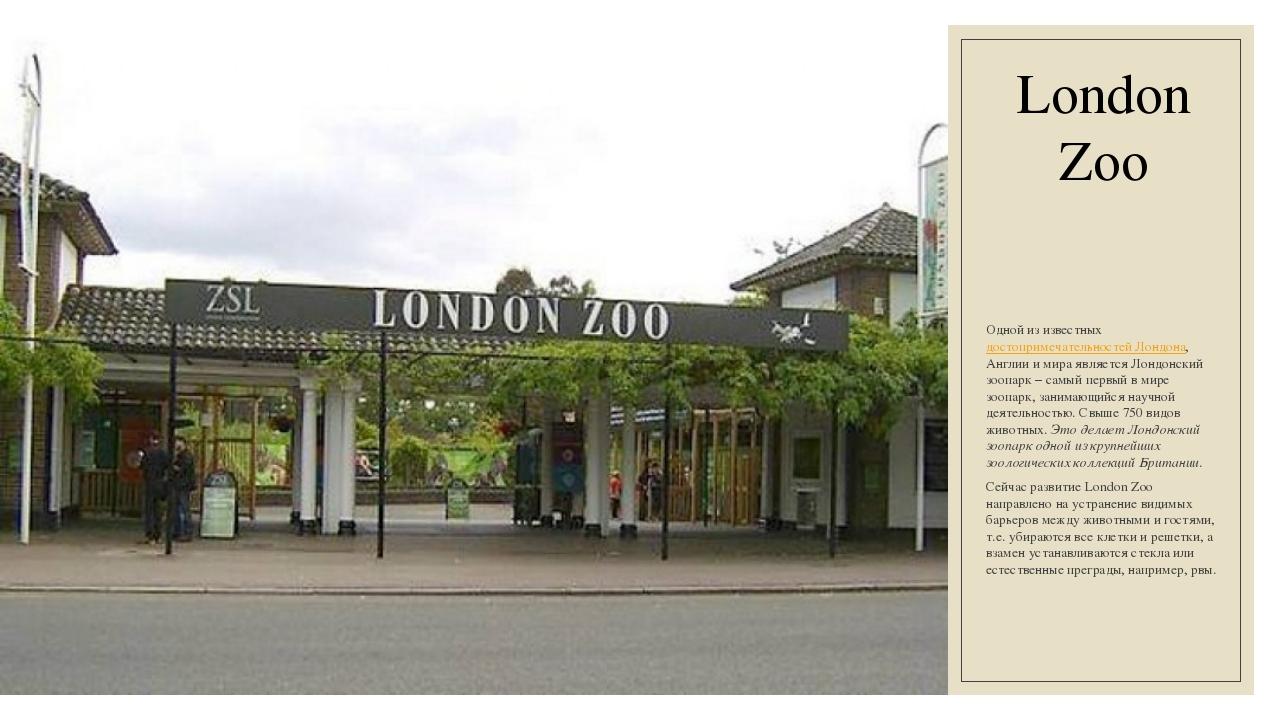 London Zoo Одной из известныхдостопримечательностей Лондона, Англии и мира я...
