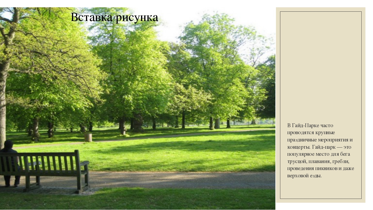 В Гайд-Парке часто проводятся крупные праздничные мероприятия и концерты.Гай...