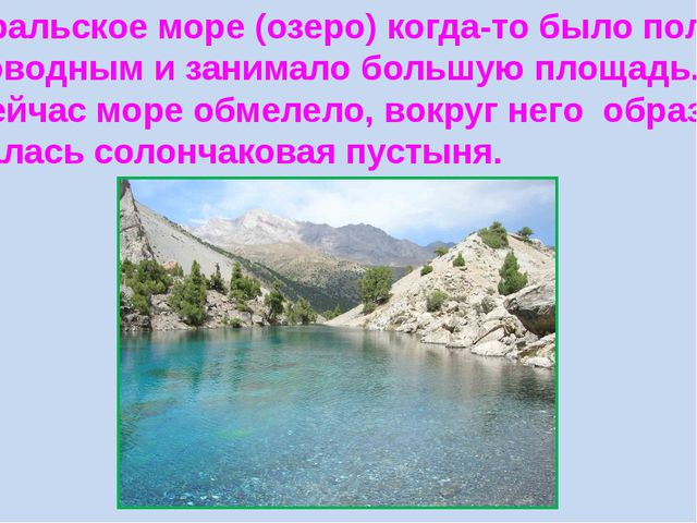 Аральское море (озеро) когда-то было пол- новодным и занимало большую площадь...