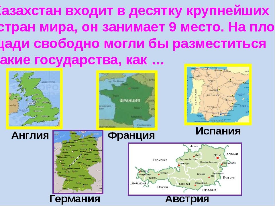 Казахстан входит в десятку крупнейших стран мира, он занимает 9 место. На пло...
