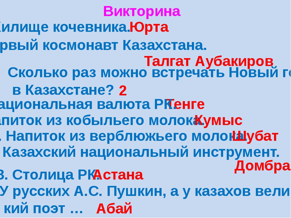 Викторина 1. Жилище кочевника. Юрта 2. Первый космонавт Казахстана. Талгат Ау...