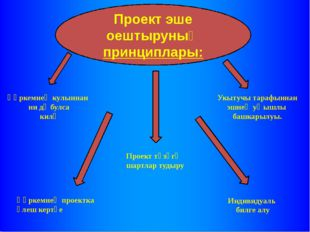 Проект эше оештыруның принциплары: Һәркемнең кулыннан ни дә булса килү Укытуч