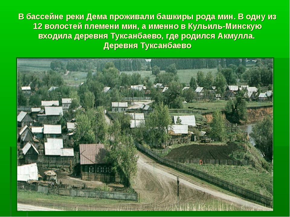 В бассейне реки Дема проживали башкиры рода мин. В одну из 12 волостей племен...