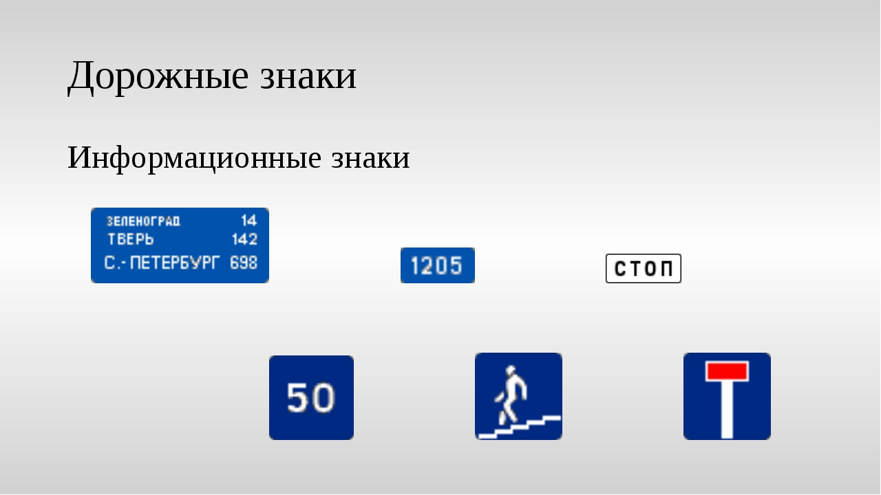 Дорожные знаки Информационные знаки