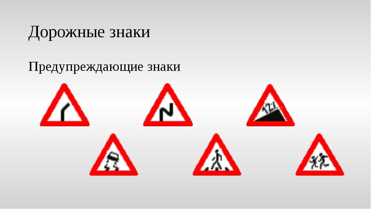 Дорожные знаки Предупреждающие знаки