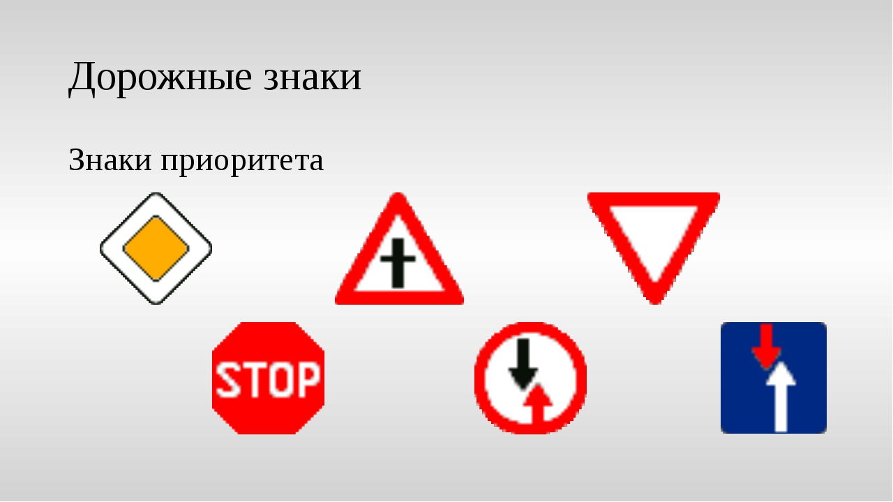 Дорожные знаки Знаки приоритета