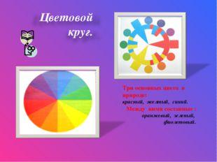 Три основных цвета в природе: красный, желтый, синий. Между ними составные :