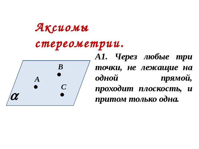 Аксиомы стереометрии. А1. Через любые три точки, не лежащие на одной прямой,...