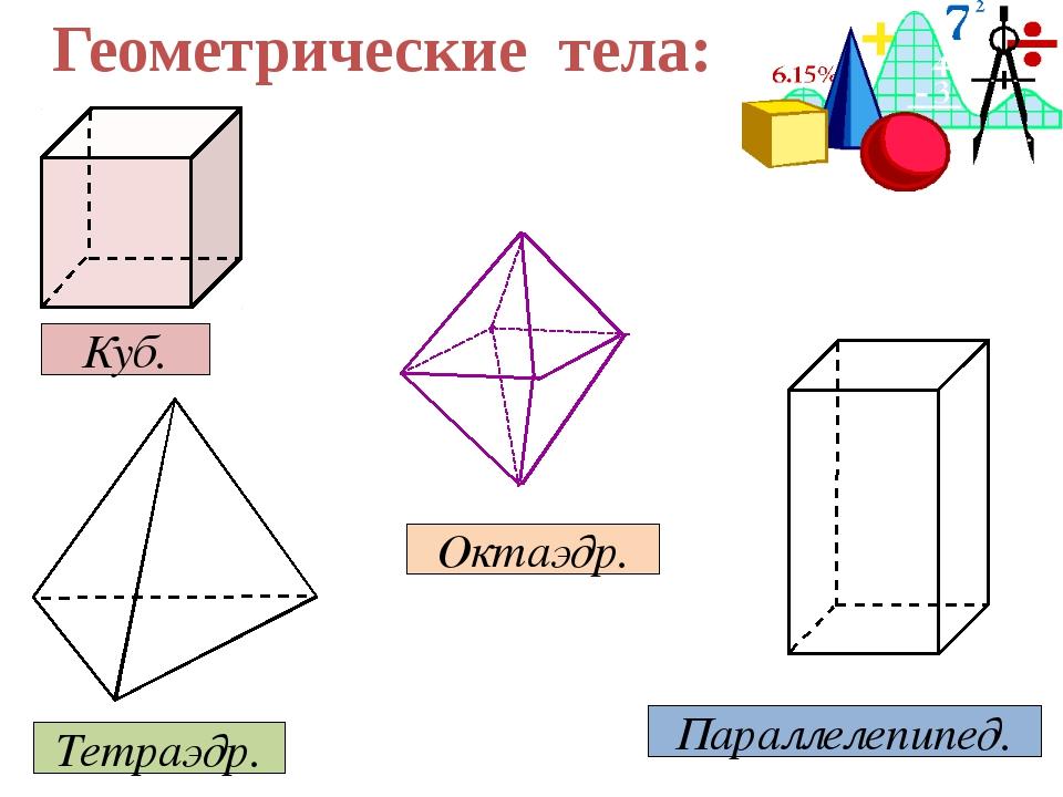 Геометрические тела: Куб. Параллелепипед. Тетраэдр. Октаэдр.