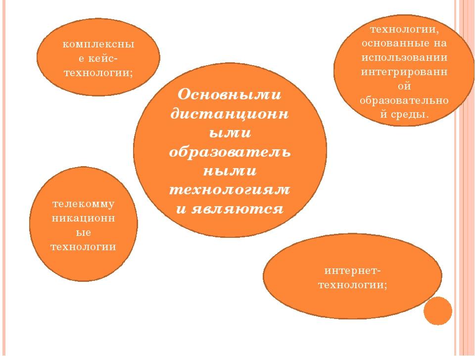 Основными дистанционными образовательными технологиями являются комплексные к...