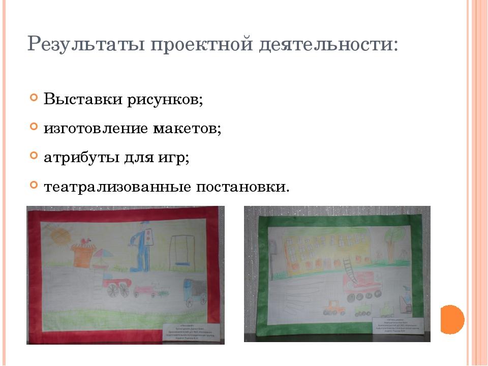 Результаты проектной деятельности: Выставки рисунков; изготовление макетов; а...
