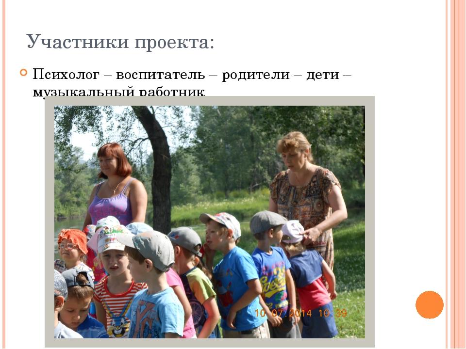 Участники проекта: Психолог – воспитатель – родители – дети – музыкальный раб...