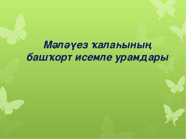 Мәләүез ҡалаһының башҡорт исемле урамдары