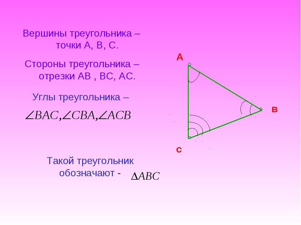 Вершины треугольника –точки А, В, С. Стороны треугольника –отрезки АВ , ВС, А...