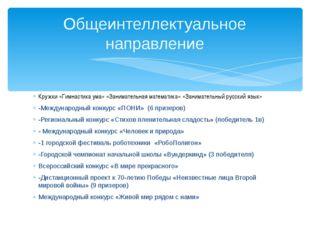 Кружки «Гимнастика ума» «Занимательная математика» «Занимательный русский язы