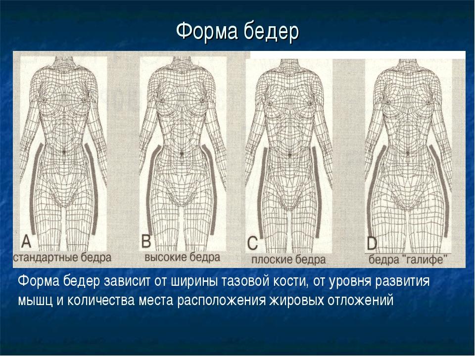 Форма бедер Форма бедер зависит от ширины тазовой кости, от уровня развития м...