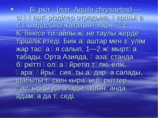 Бүркіт - (лат. Aquila chrysaetos) — сұңқартәрізділер отрядына, қаршыға тұқым