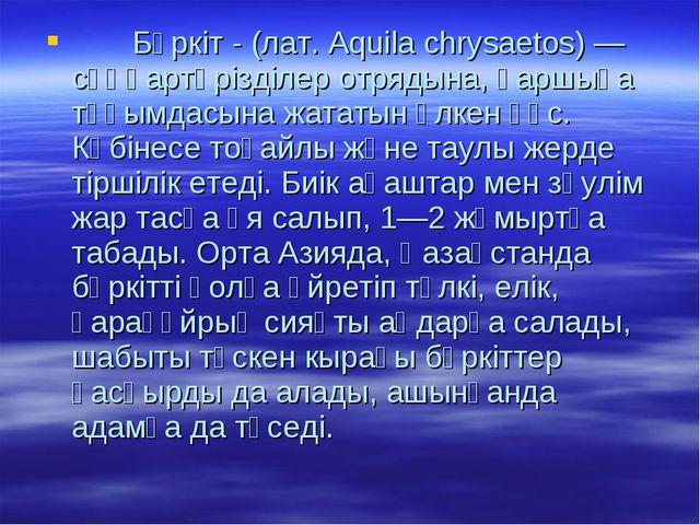 Бүркіт - (лат. Aquila chrysaetos) — сұңқартәрізділер отрядына, қаршыға тұқым...