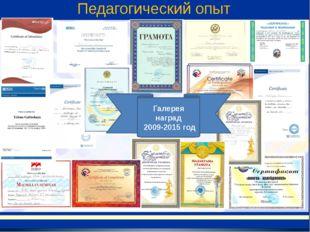 Галерея наград 2009-2015 год Педагогический опыт