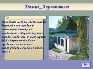 Последние месяцы своей жизни великий поэт провел в небольшом домике на тогда