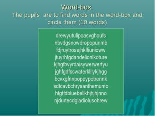 Word-box. The pupils are to find words in the word-box and circle them (10 wo