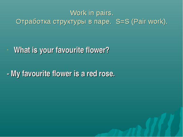 Work in pairs. Отработка структуры в паре. S=S (Pair work). What is your fav...