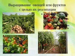 Выращивание овощей или фруктов с целью их реализации