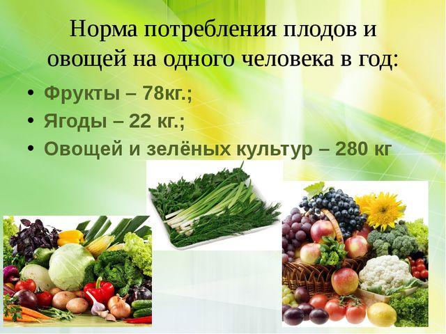 Норма потребления плодов и овощей на одного человека в год: Фрукты – 78кг.; Я...