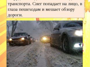 9. В осенние снегопады заметно ухудшается видимость, появляются заносы, огран