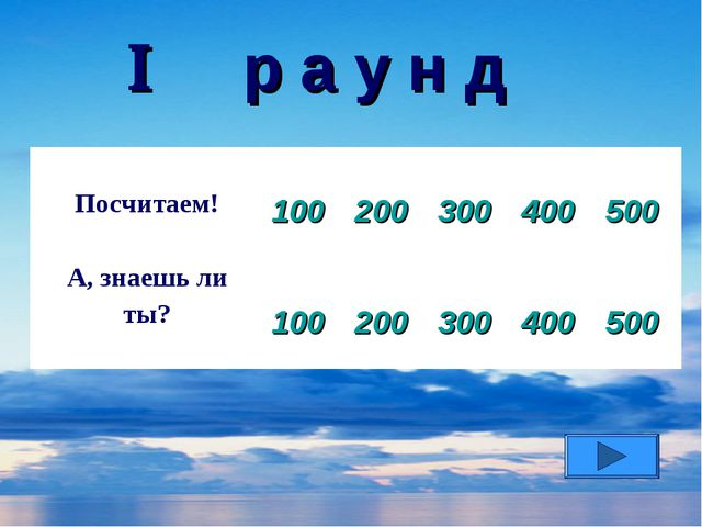  р а у н д Посчитаем! 100 200 300 400 500 А, знаешь ли ты? 100 200 3...