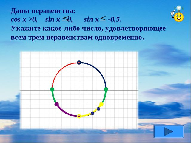 Даны неравенства: cos x >0, sin x 0, sin x -0,5. Укажите какое-либо число, уд...