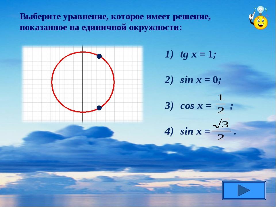 Выберите уравнение, которое имеет решение, показанное на единичной окружности...