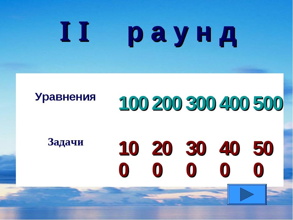   р а у н д Уравнения 100 200 300 400 500 Задачи 100 200 300 400...