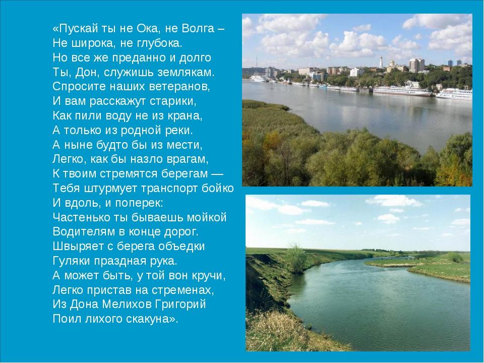 «Пускай ты не Ока, не Волга – Не широка, не глубока. Но все же преданно и дол...